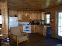 Log Cabin Rental - Living Room and Kitchen - North Country Rivers