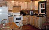 Log Cabin Rental - Full Kitchen View from Living Room - North Country Rivers